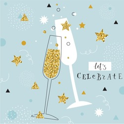 champagne flutes with golden bubbles on minimalistic background with space for text. let's celebrate