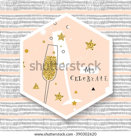 champagne flutes with golden
