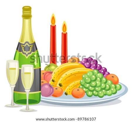 Champagne fruits - stock vector