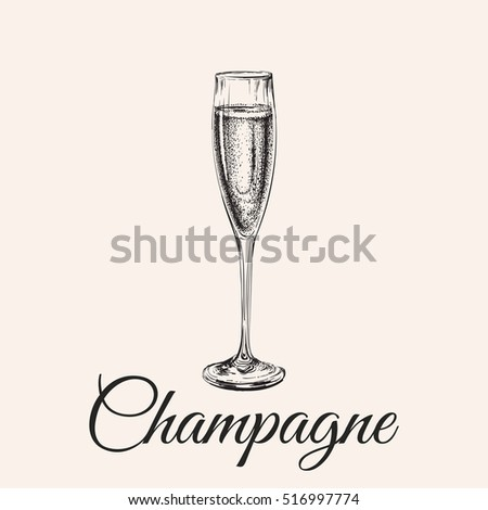 champagne glass hand drawing