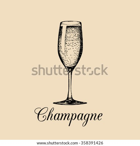Champagne glass isolated. Vector hand drawn sketch of spumante. Alcoholic drink logo. A white sparkling wine sign for restaurant, bar, cafe menu design.