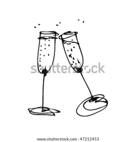 Black And White Cocktail Glasses Bitmap