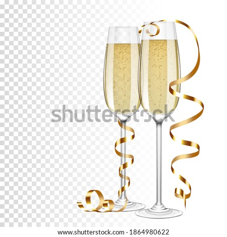 Champagne glasses and champagne with gold ribbon, isolated.