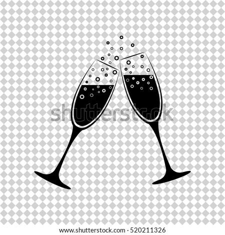 Champagne glasses - black  vector icon