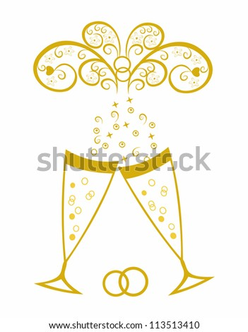 Champagne glasses.Golden wedding celebration.Editable and scalable vector