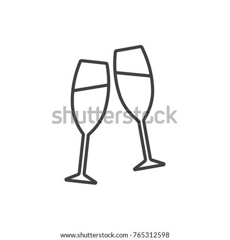 champagne glasses toasting line