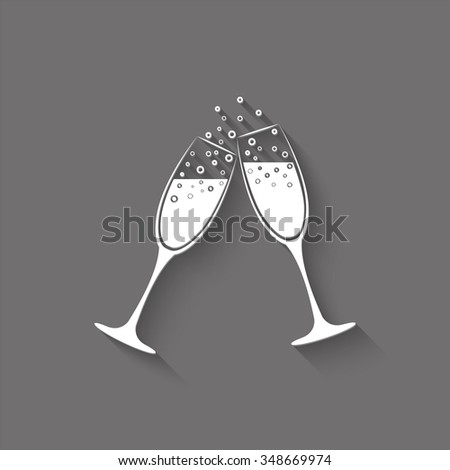 champagne glasses vector icon