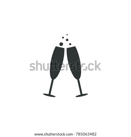 Champagne icon winter simple vector christmas illustration sign