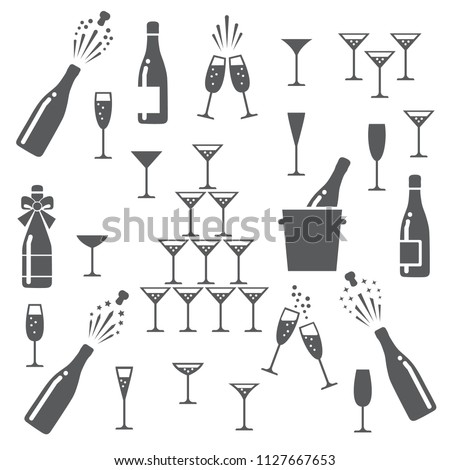 Champagne icons. Cheering opening popping bottles and glasses of champagne, cheers and cheerful signs silhouettes vector illustration