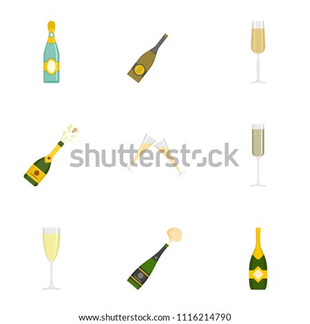 champagne icons set cartoon