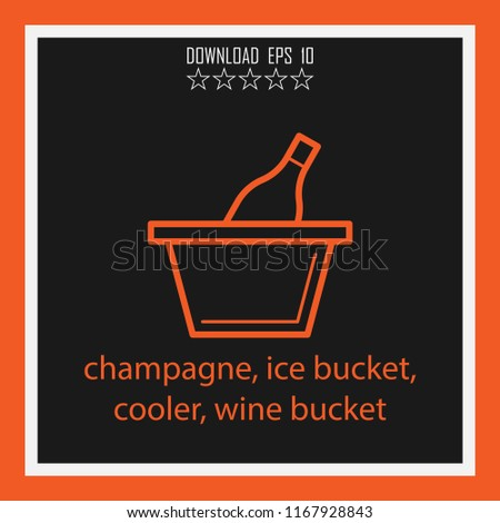 champagne, oce bucket, cooler, wine bucket  vector icon