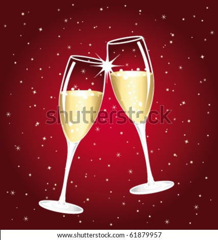Champagne toast cups. Vector illustration.