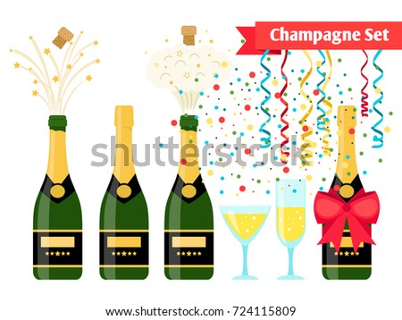 Champagnes party elements. Champagne bottle explosion, serpentine ribbons, confetti and glasses with sparkling wine isolated on white background