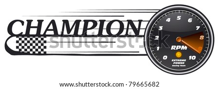 champion banner with tachometer