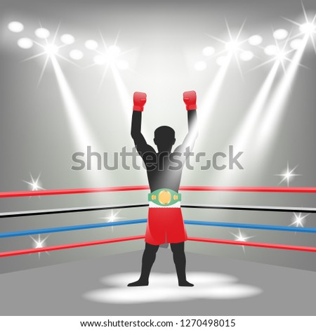champion boxing champion belt light design vector
