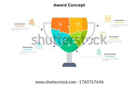 Champion cup or prize divided into 5 colorful jigsaw puzzle pieces. Concept of five features of business success. Simple infographic design template. Modern flat vector illustration for banner. Foto stock ©