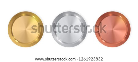 Champion Gold, Silver and Bronze Medal. Icon Sign of First, Second  and Third Place Isolated on White Background. Vector Illustration EPS10