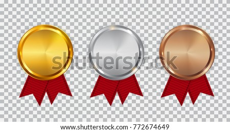 Champion Gold, Silver and Bronze Medal Template with Red Ribbon. Icon Sign of First, Second  and Third Place Isolated on Transparent Background. Vector Illustration EPS10