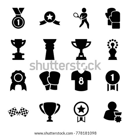 Champion icons. set of 16 editable filled champion icons such as medal, trophy, boxing gloves, tennis playing, finish flag, football t shirt