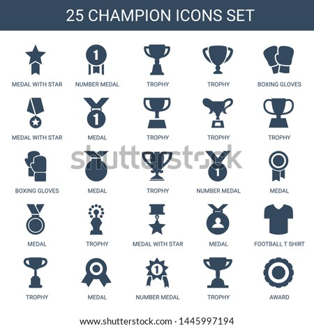 champion icons. Trendy 25 champion icons. Contain icons such as medal with star, number medal, trophy, boxing gloves, medal, football t shirt. champion icon for web and mobile.