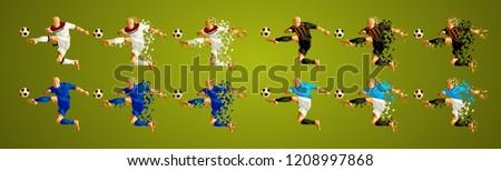 Champion league  group F, Football,  Soccer players colorful uniforms, 4 teams, vector illustration, set 3/8, Lyon Olympique, Shakhtar, Hoffenheim, Manchester City