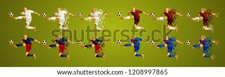 Champion league group G, Football, Soccer players colorful uniforms, 4 teams, vector illustration, set 2/8, Real, Roma, CSKA, Viktoria