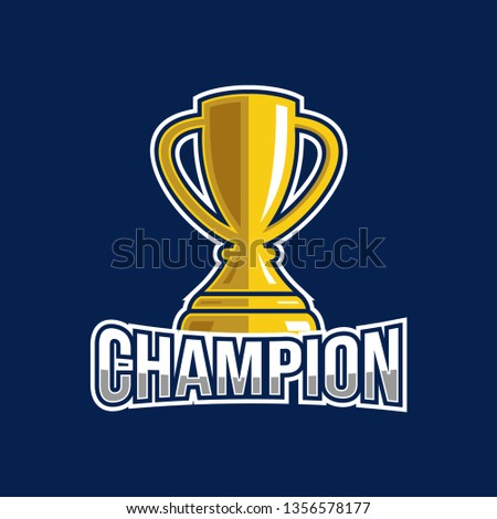 Champion logo design with trophy