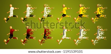 Champion's league group H, Football,  Soccer players colorful uniforms, 4 teams, vector illustration, set 1/8, Manchester, Young boys, Valencia, Juventus