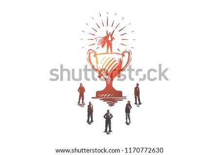 Champion, success, victory, businessman, super hero concept. Hand drawn winner super hero standing on cup concept sketch. Isolated vector illustration.