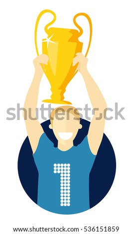 Champion with winner cup, flat design, isolated vector image on white, the best concept