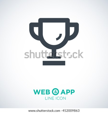 champions cup isolated minimal single flat icon. Winner line vector icon for websites and mobile minimalist flat design.