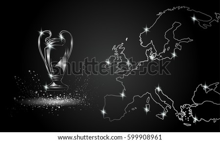 Champions Cup with a linear map. Chromed Soccer trophy.