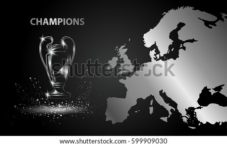 Champions Cup with a map. Chromed Soccer trophy.