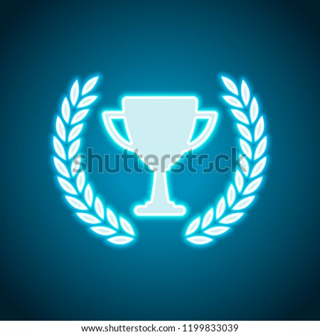 Champions cup with laurel wreath. Simple icon. Neon style. Light decoration icon. Bright electric symbol