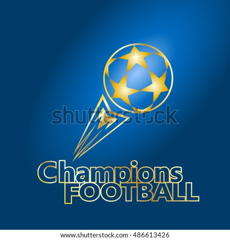 Champions League football match sign Gold stars soccer ball. Champions Cup Football. European Championship Soccer Ball with tail fire flame fly. Champions League Finale 2021/20 Match Ball, icon vector
