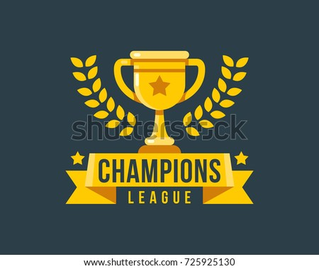 Champions league gold cup icon vector illustration