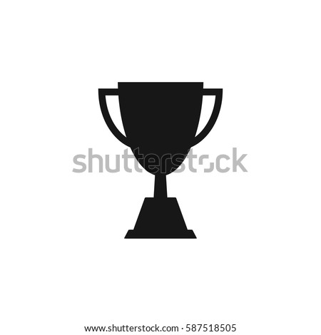 Champions trophy icon vector illustration. First place award sign. Victory symbol.