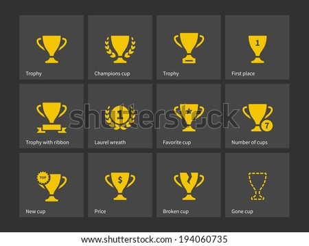 Champions trophy icons. Vector illustration.