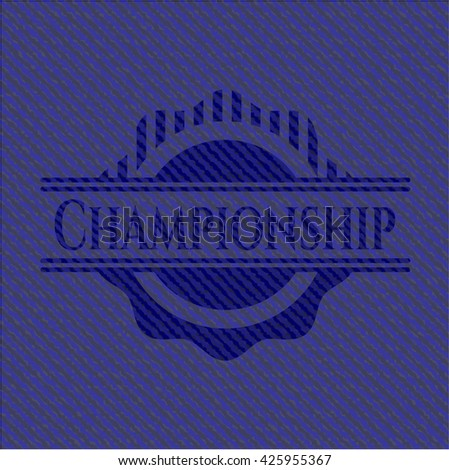 Championship badge with denim texture