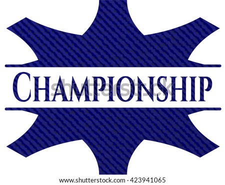 Championship badge with jean texture