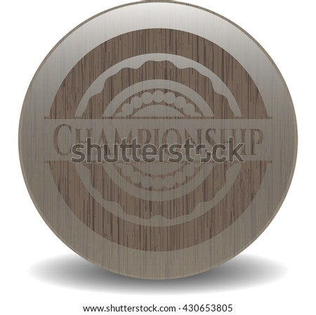 Championship badge with wooden background