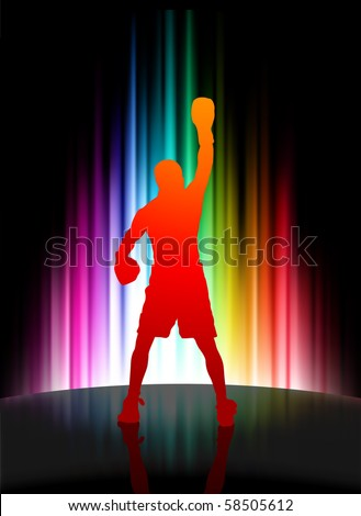 Championship Boxer on Abstract Spectrum Background Original Illustration