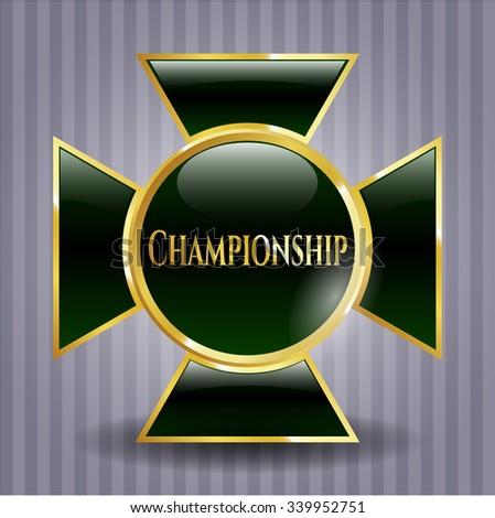 Championship gold badge or emblem