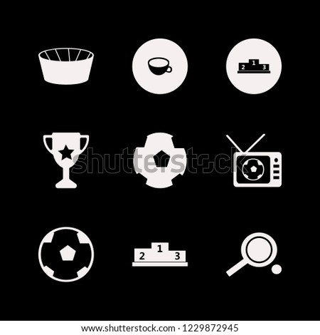championship icon. championship vector icons set soccer ball, football ball, football tv match and ping pong