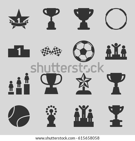 Championship icons set. set of 16 championship filled icons such as ranking, trophy, finish flag, 1st place star, fotball, tennis ball, star trophy