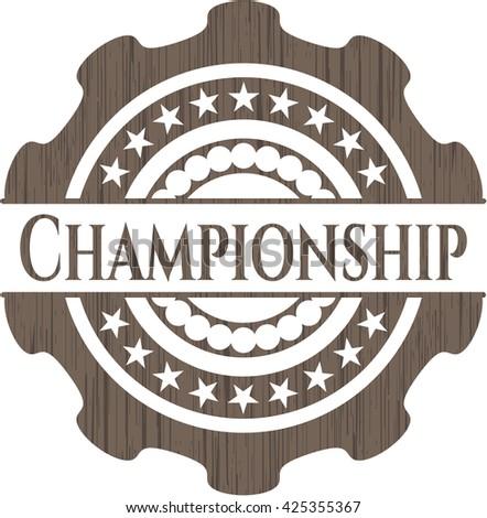 Championship retro style wooden emblem