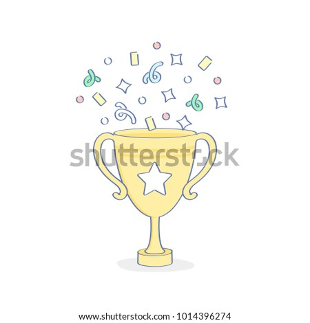 Championship Winner Cup Trophy with confetti, reward, first place award best results, champion symbol, top success concept, competition reward, game victory outline vector icon illustration.