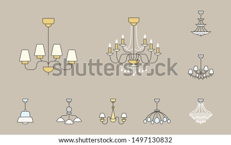 Chandelier Icons Set - Vector colored silhouettes vintage and luxury chandelier