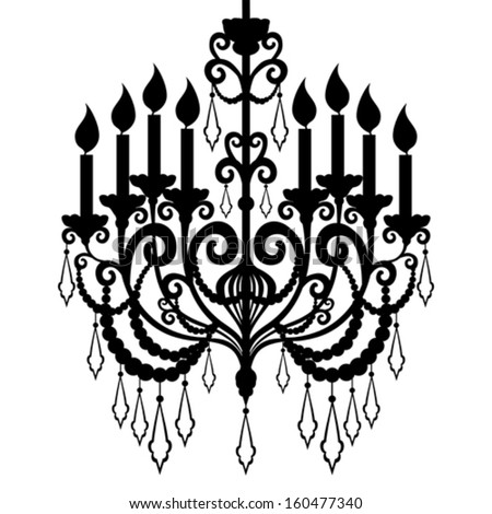 Chandelier Silhouette Isolated On White Background Vector Illustration 160477340