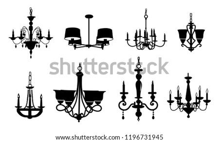 chandeliers vectors, chandeliers silhouette, chandelier icons